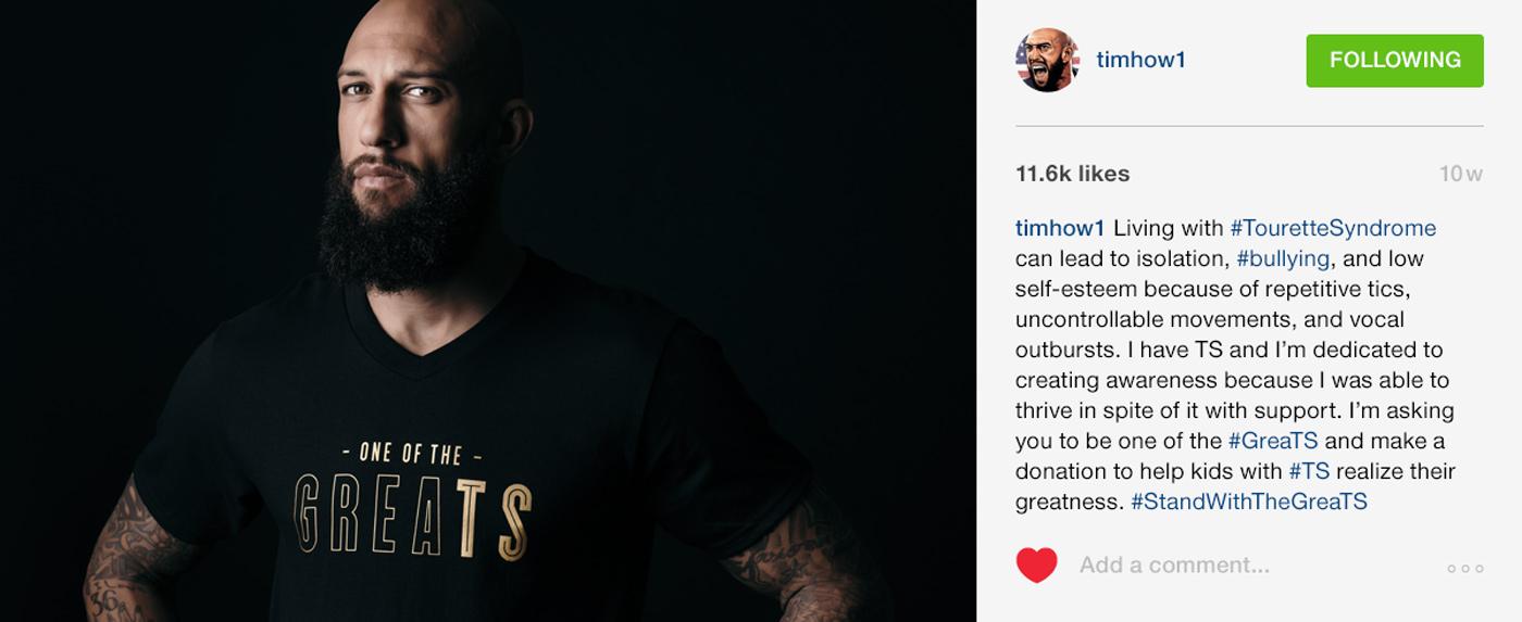 Tim Howard wearing GreaTS T-Shirt, social post