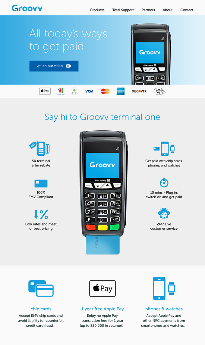 Groovv credit card merchant services landing page design