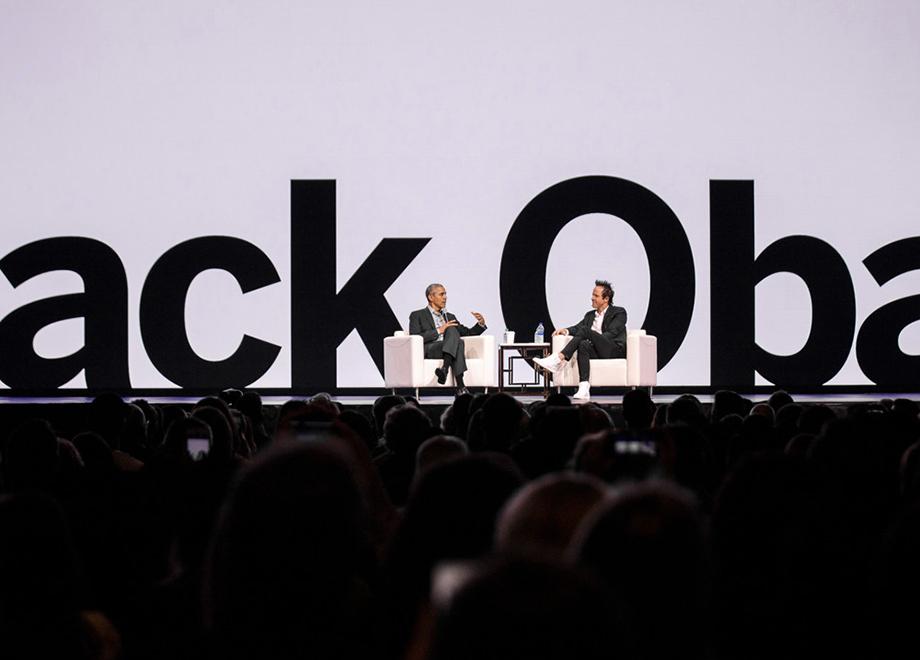 Barack Obama on stage at X4 conference